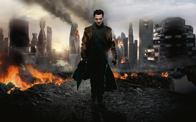Benedict Cumberbach shows his evil side in a promo shot for Star Trek Into Darkness