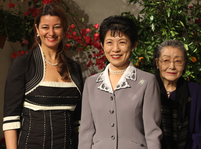 Spanish 2nd Secretary Cristiane Castilho, H.I.H. Princess Takamado, and her mother Fumiko
