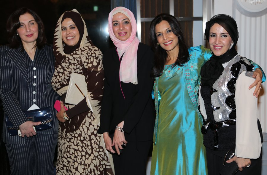 At the Oman National Day Party: Randa Eldib (Lebanon), Samira Abedaziz (Sudan), Nahid Al-Robaee (Iraq), Maali Siam (Palestine), and Jamila Al-Otaibi (Kuwait)
