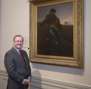 "Malcom Rogers stands next to Millet's ""The Sower"" © Museum of Fine Arts, Boston"