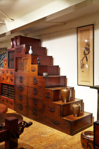 The staircase tansu are some of the more striking pieces at Kanarusha