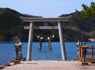 A view to two of Watazumi Shrine's torii