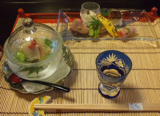 The first courses in Ikumatsu's celebrated kaiseki ryori dinner