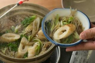 An Akita specialty: kiritanpo nabe, served with mountain vegetables