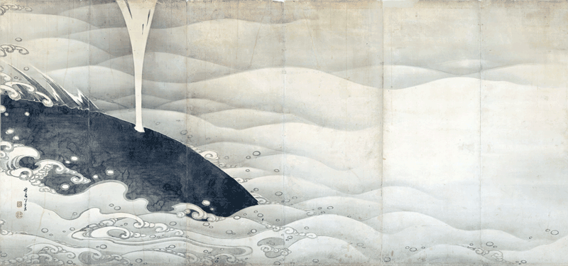 Elephant and Whale Screens, by Ito Jakuchu, Pair of six-fold screens left-hand screen, Kansei 9 (1797), Miho Museum