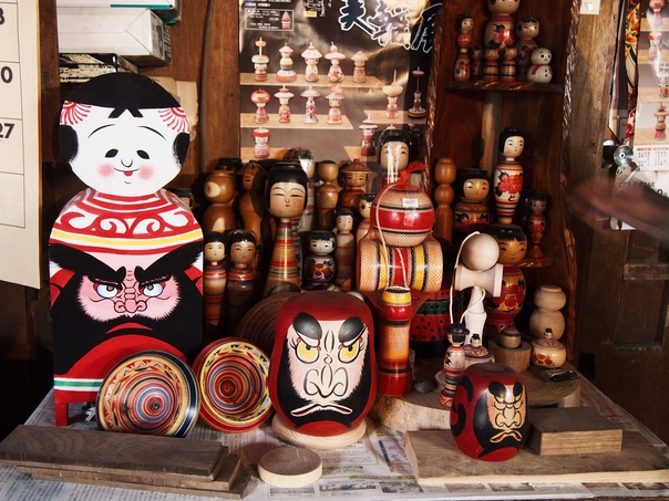 Kojima's handcrafted kokeshi on display in his workshop