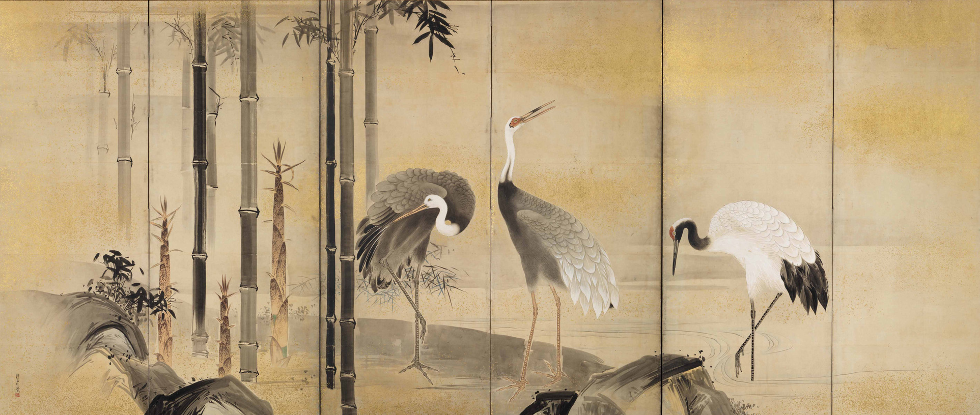 "Watanabe Shiko""Cranes with Plum,Bamboo and Pine"" (left screen) Mid Edo period,Okada Museum of Art"