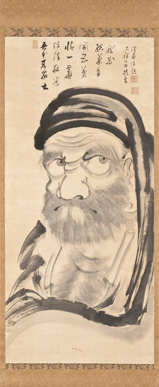 a 19th century painting of the Zen patriarch Bodhidharma