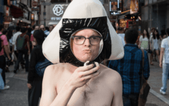 man wearing onigiri helmet and loincloth