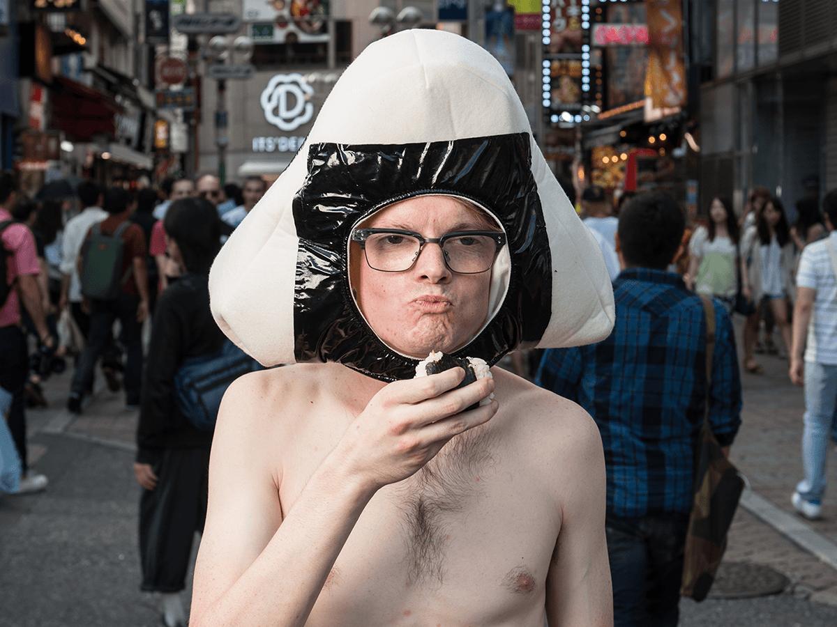 man wearing onigiri helmet and loincloth