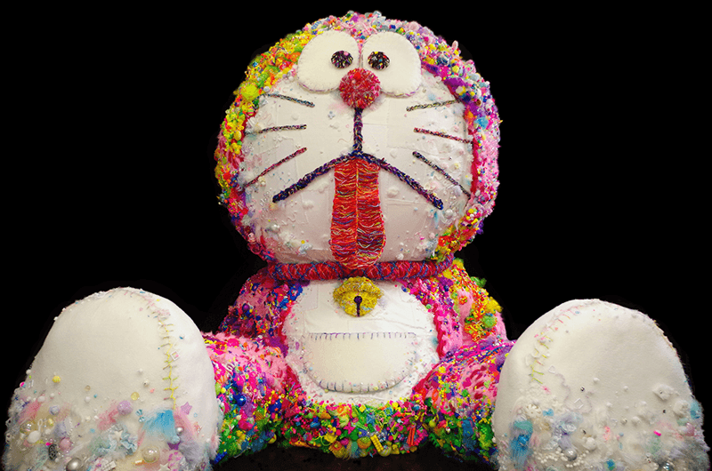 a colorful sculpture of doraemon