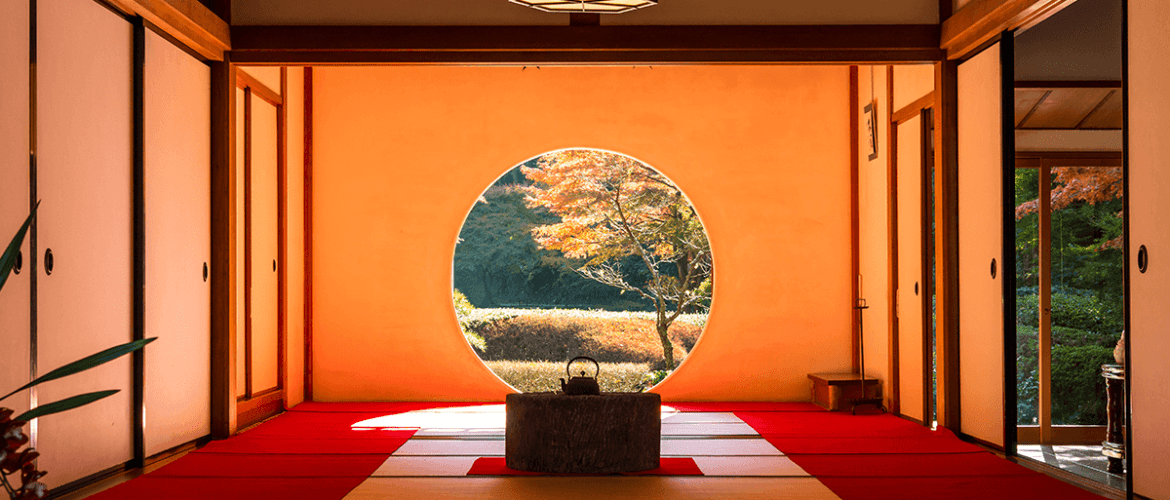a view of the tearoom at meigetsuin temple in Kamakura