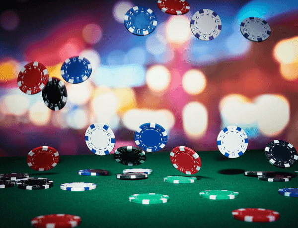 poker chips flying in the air