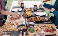 people eating barbecue food in niigata