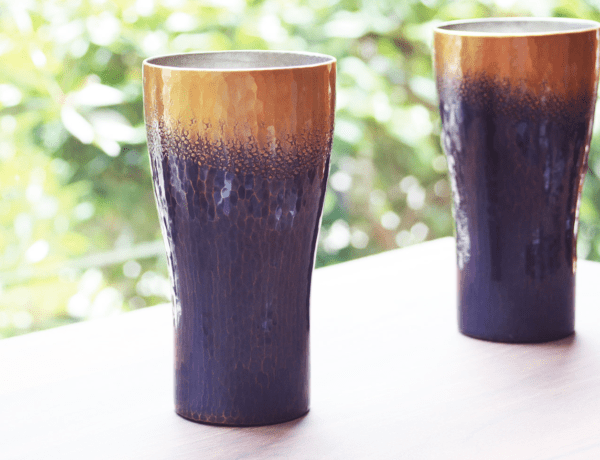 handcrafted metalwork cups from Niigata