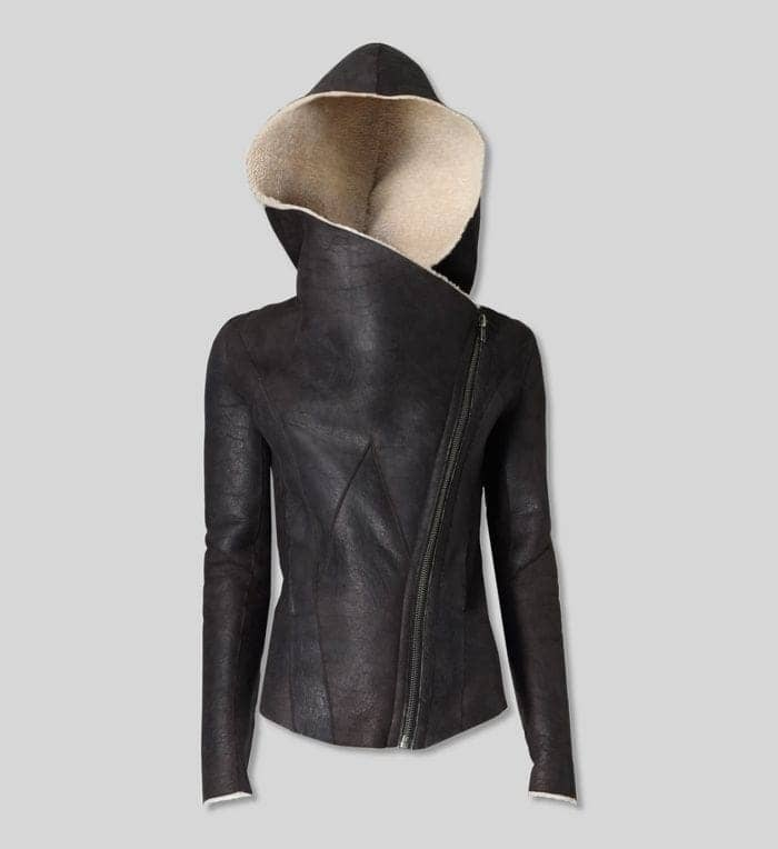 helmut lang leather hooded jacket
