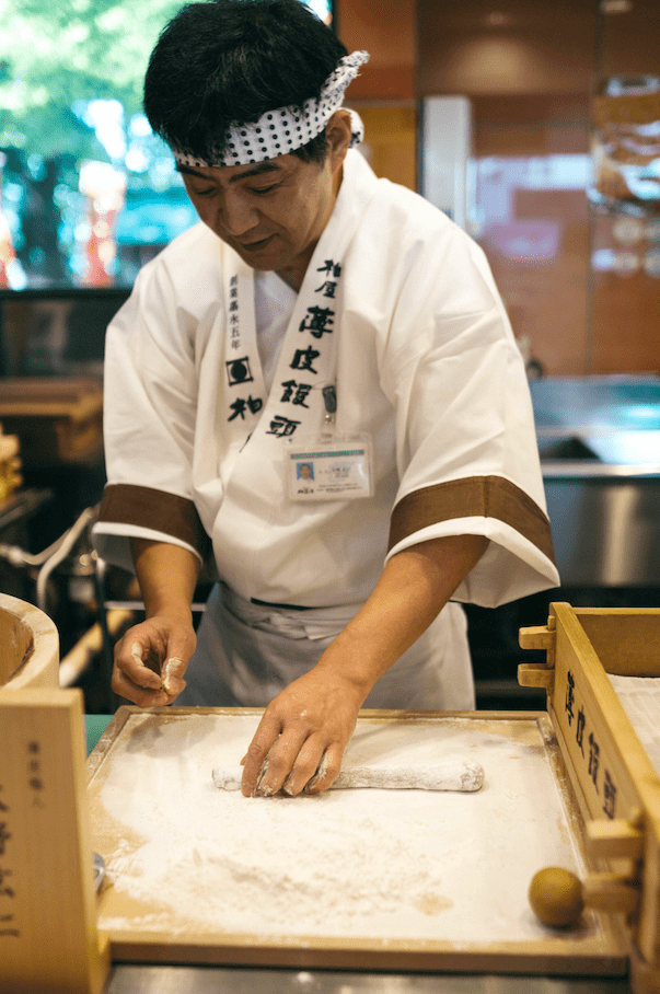 Making manju in Koriyama