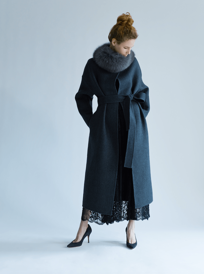 luxury cashmere coat from ebure at ginza six