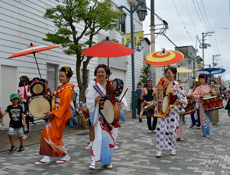 a festival procession in tohoku