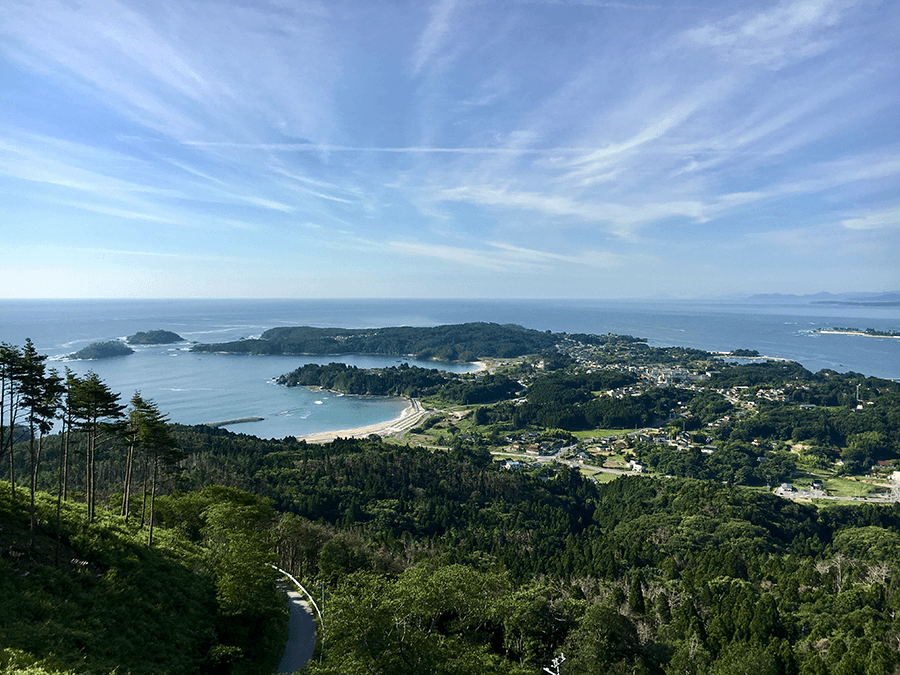 the coastline of tohoku seen from the michinoku shiokaze trail