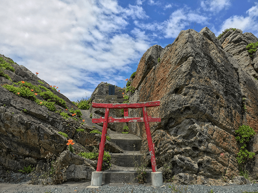 a torii gate seen in tohoku on the michinoku shiokaze trail
