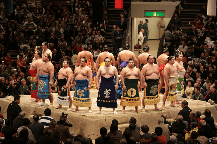 a group of sumo wrestlers