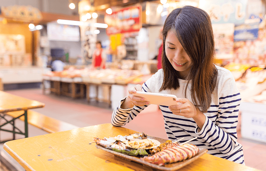 woman taking a picture of her food with a smartphone