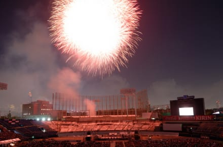 Fireworks display at Jingu Gaien stadium in Tokyo