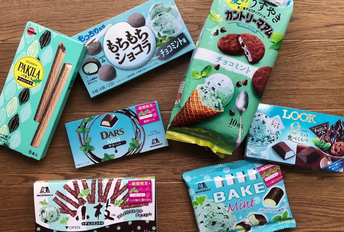 a seclection of mint chocolate chocomint snacks from Japanese convenience store in mint green packaging
