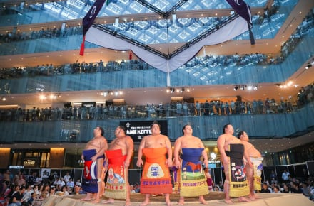 Sumo wrestlers at Kitte department store in Tokyo