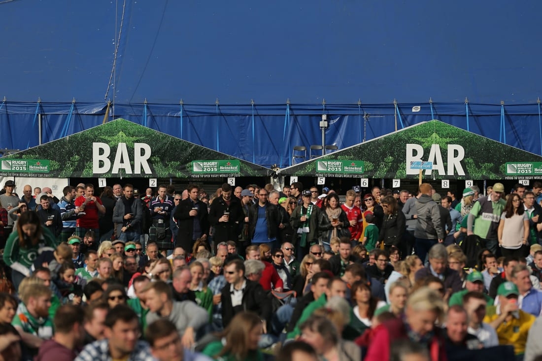 England rugby fans attend a Fanzone at 2015 Rugby World Cup