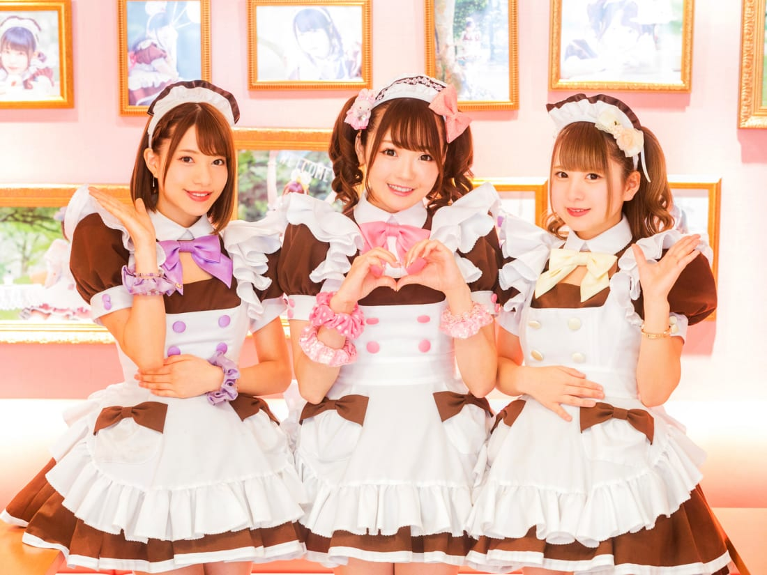 Maid café waitresses from Tokyo cafe