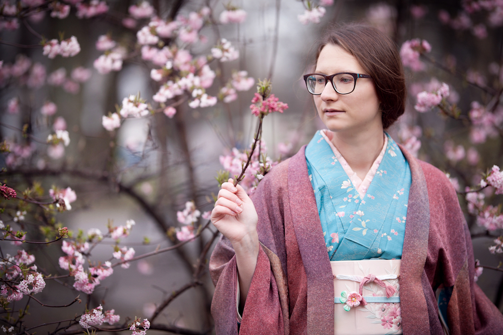 Foreign woman wears kimono in Tokyo cherry blossoms