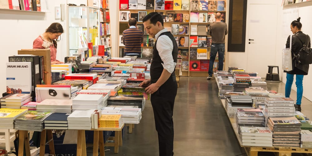People browsing at a book fair