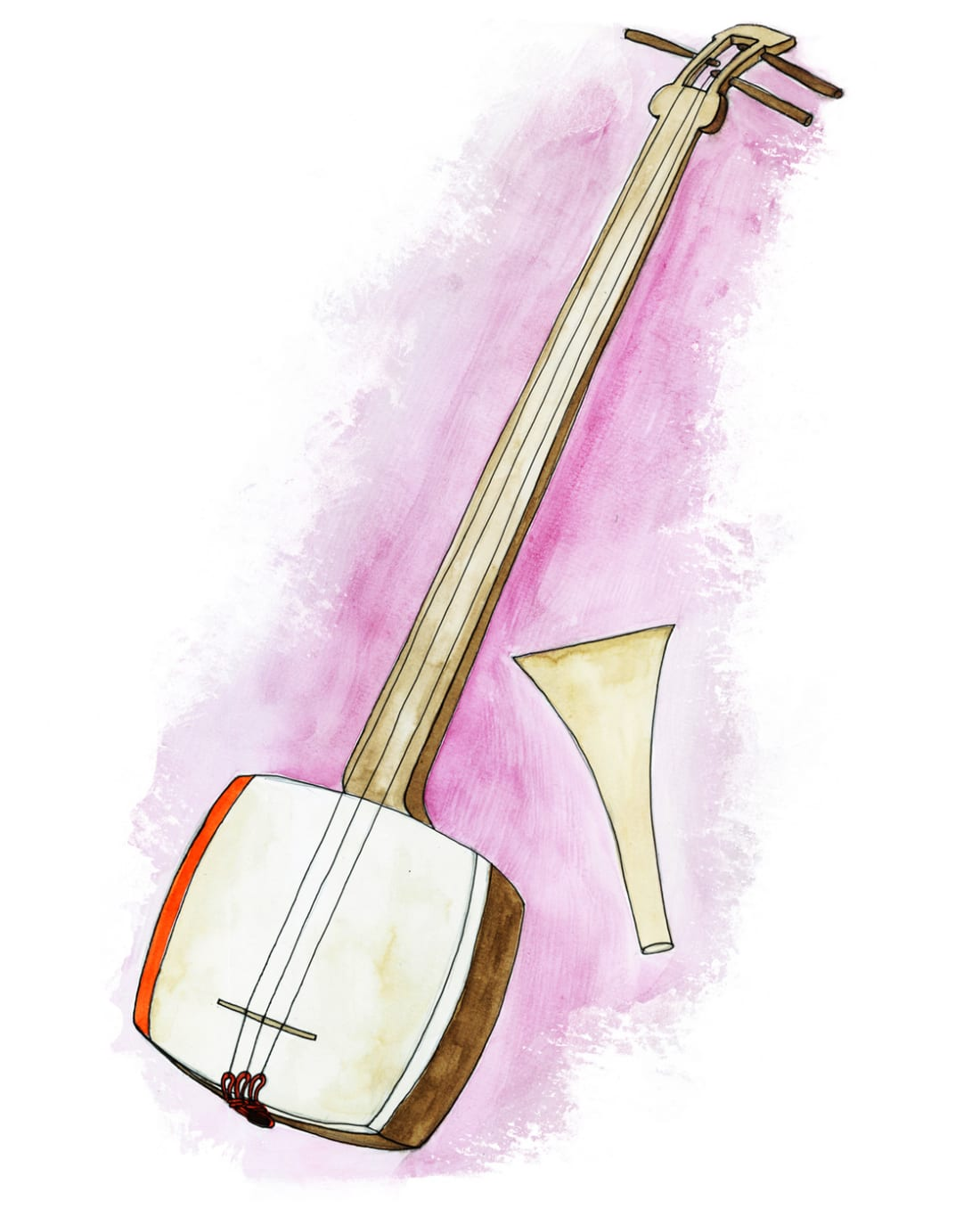 Illustration of Japanese instrument shamisen