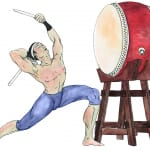 Illustration of Japanese instrument taiko drum
