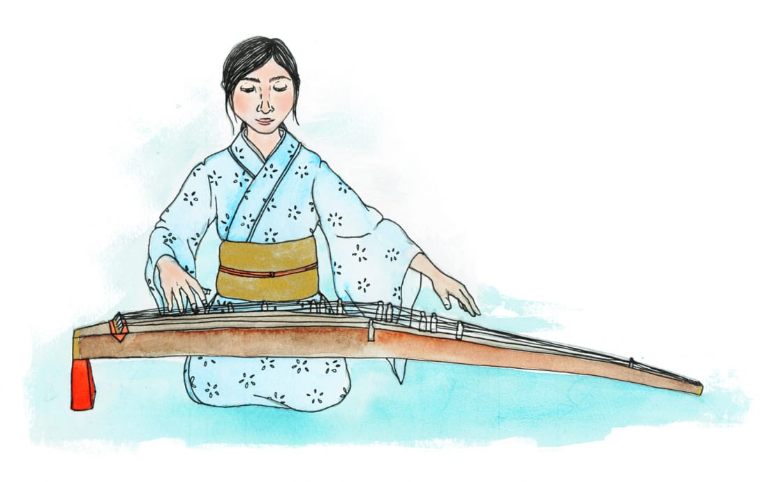 Illustration of Japanese instrument koto
