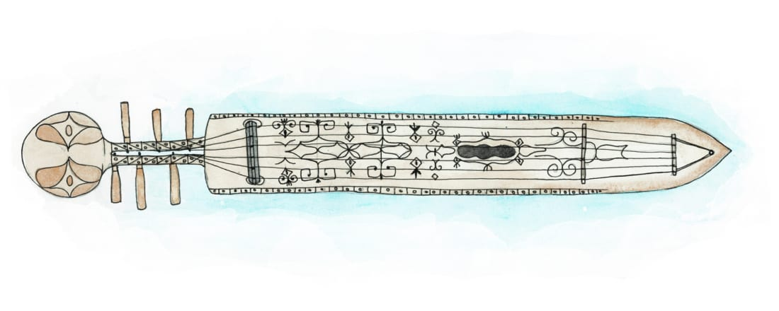 Illustration of Japanese instrument tonkori