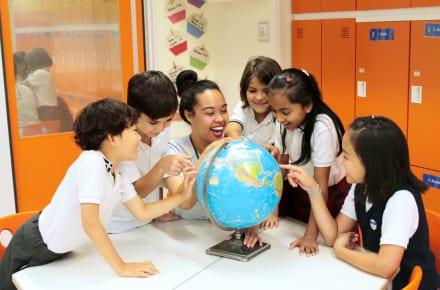 Teacher and kids at Horizon Japan International School