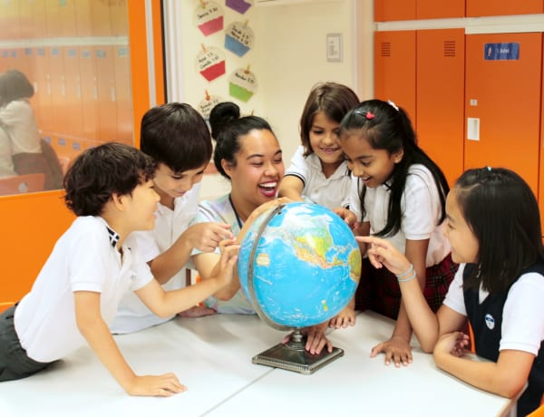 Teacher and kids at Horizon Japan International School