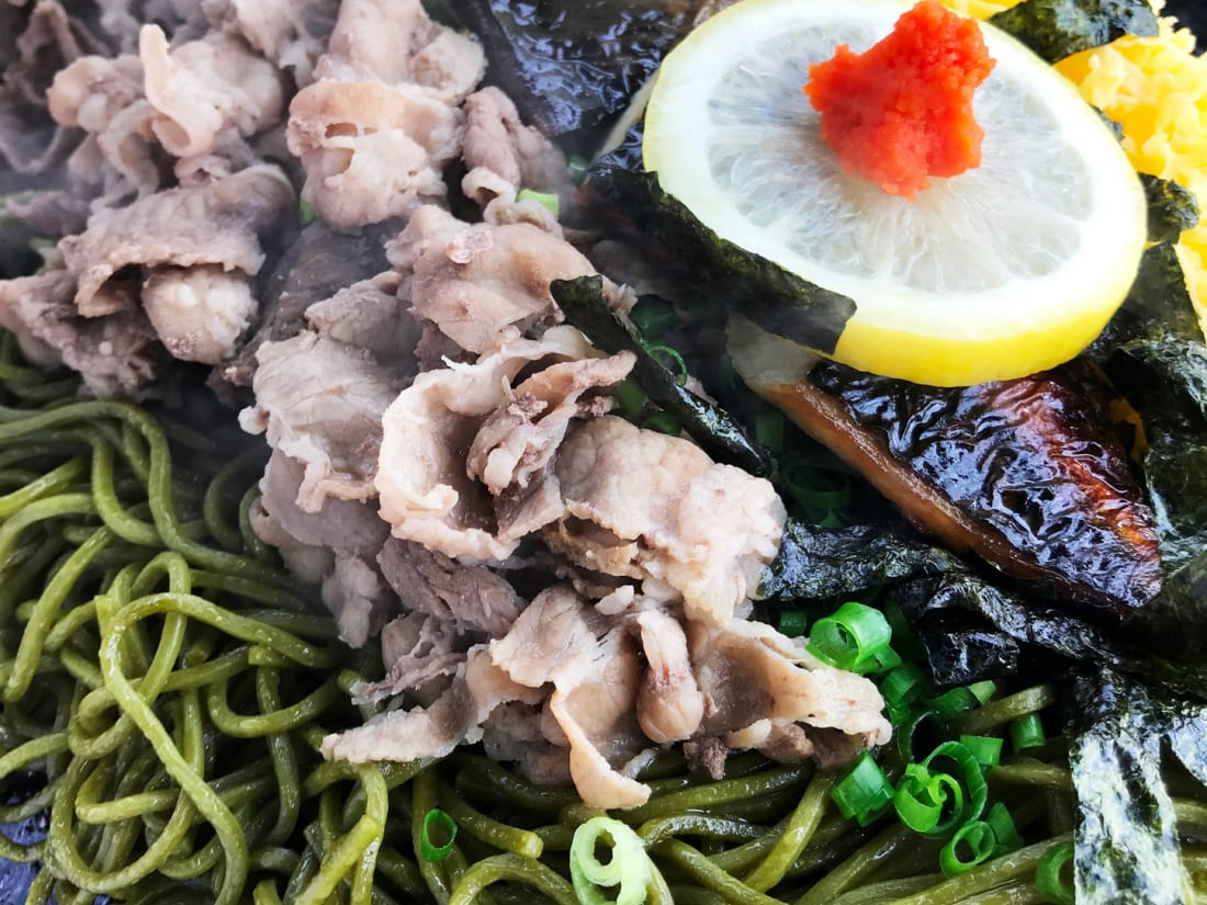 Kawara soba is a food specialty in Japan