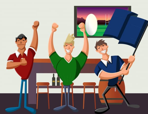 Rugby fans cheering for World Cup
