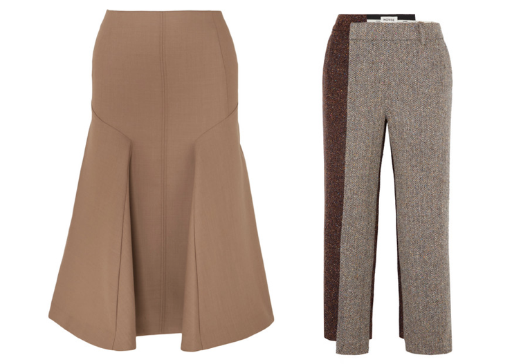 Brown skirt and trousers