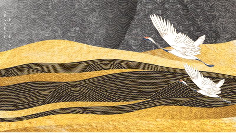 love haiku gold cranes