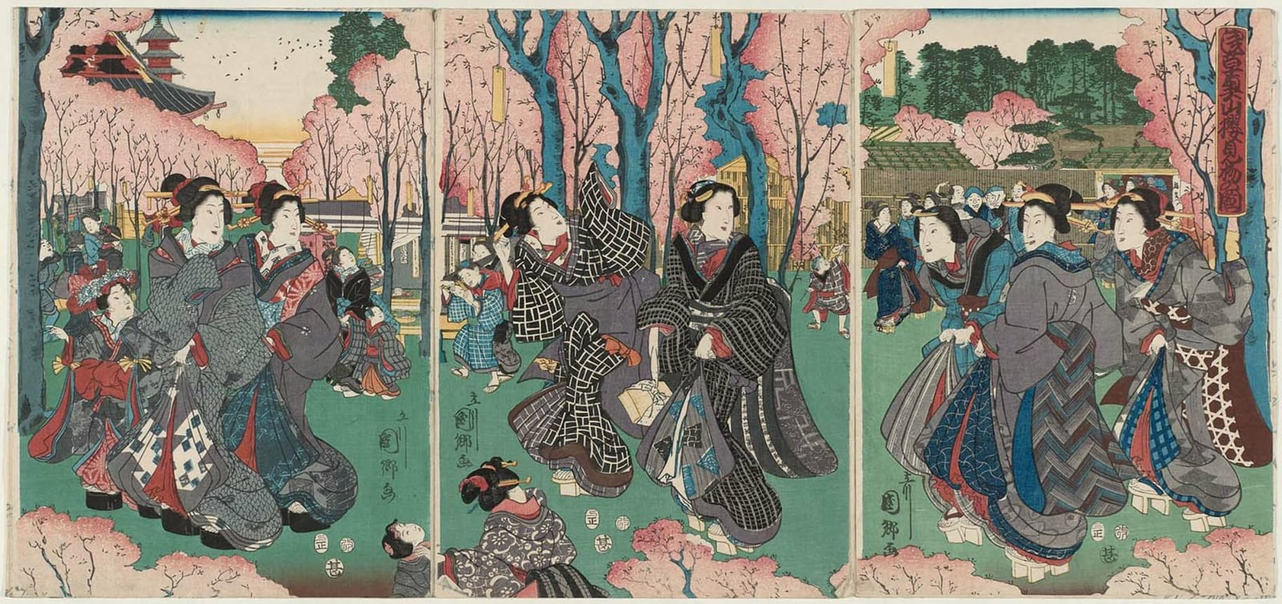 Utagawa Kunisato Title-Viewing Cherry Blossoms in the Inner Precincts of the Temple at Asakusa